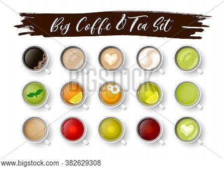 Realistic Vector 3d Cup Of Hot Beverage Set. 3d Green, Black Lemon Tea , Mint, Herbal Chamomile Tea,