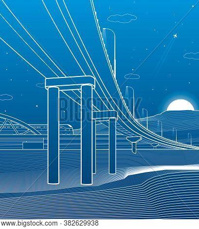 Outline Road Bridge. Car Overpass. Train Rides. Infrastructure Illustration. Vector Design Art. Whit
