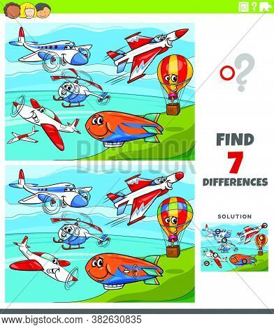 Cartoon Illustration Of Finding Differences Between Pictures Educational Game For Children With Comi