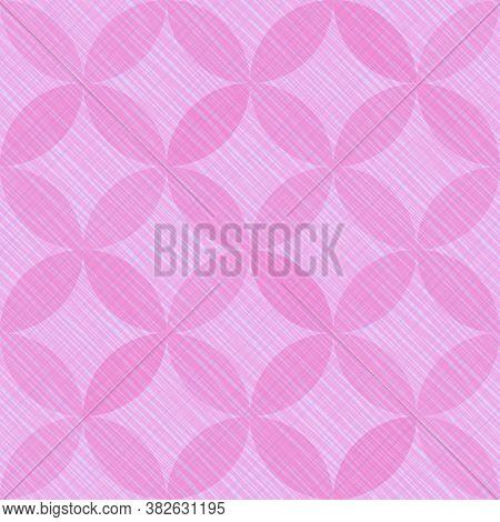 Interlacing Circles Parts Beautiful Seamless Vector Pattern. Guatrefoil Flower Pink Diamond Lattice