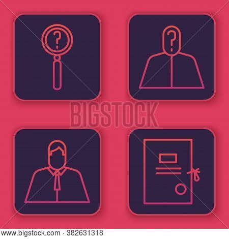 Set Line Magnifying Glass With Search, Lawyer, Attorney, Jurist, Anonymous With Question Mark And La