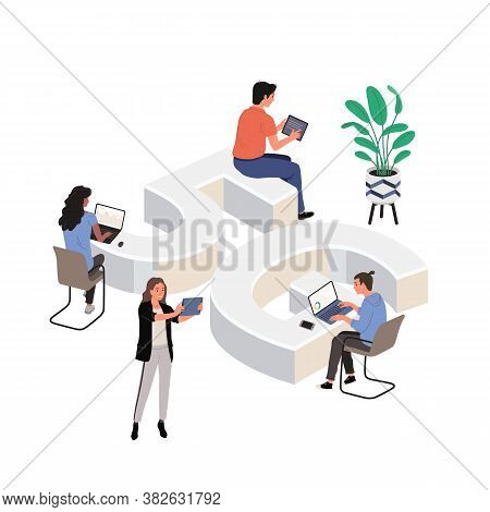 5g Network Wireless Technology Vector Illustration. People With Gadgets Use High-speed Internet Near
