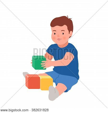 Cute Smiling Child Playing With Colorful Cubes Vector Flat Illustration. Baby Playing Developing Toy