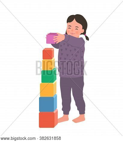 Cute Smiling Girl Is Standing Holding Colorful Cube Vector Flat Illustration. Baby Playing Developin