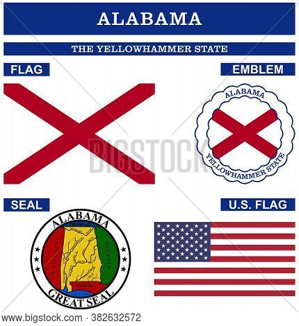 Alabama Symbol Collection With Flag, Seal, Us Flag And Emblem As Vector.