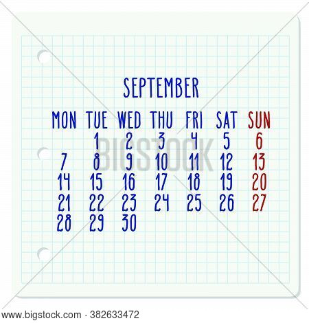 September Year 2020 Vector Monthly Calendar On A Squared Notebook Page. Hand Written Chequered Note