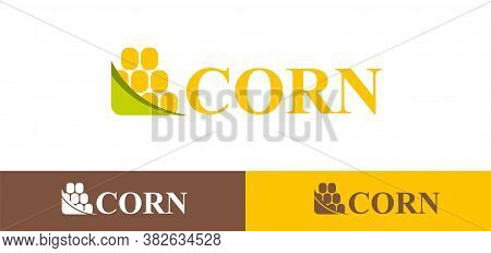 Template Logo Design Corn On A White Background. Maize Symbol Vector Illustration In Flat Style.