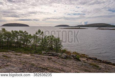Seascape Kuzova Archipelago From German Kuzov Island. Kuzova Archipelago Located In The North Of Rus