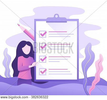 Business Woman With Big To-do List And Pencil Marked Checklist On Clipboard Paper. Successful Planni