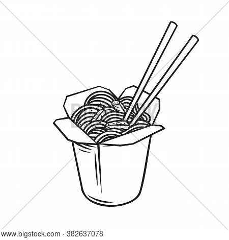 Takeaway Carton Wok Box Noodles With Veggies And Fried Pork Outline Icon. Takeout Carton Food Packag