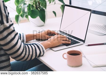 Closeup Of Female Hands Typing Text On Laptop Keyboard. Woman Working Or Studying At Home Office Wit