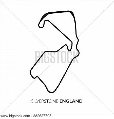 Silverstone Circuit, England. Motorsport Race Track Vector Map
