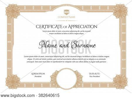 Certificate Template. Diploma Of Modern Design Or Gift Certificate. Frame From Guilloche Pattern. El