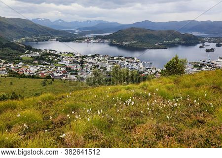 Ulsteinvik In More Og Romsdal County Of Norway. Islands Seen From A Mountain.