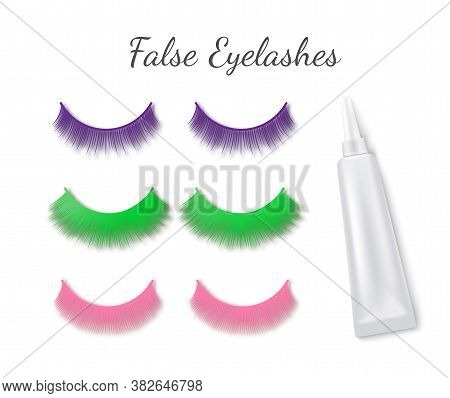 Bright False Eyelashes With Tube Of Glue Realistic Vector Illustration Isolated.