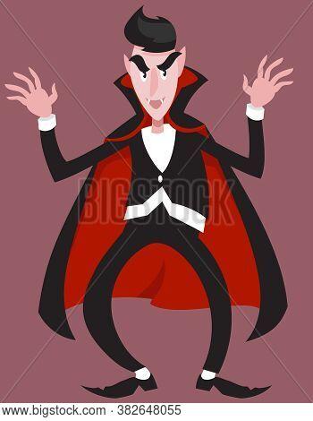Vampire In Intimidating Pose. Halloween Character In Cartoon Style.