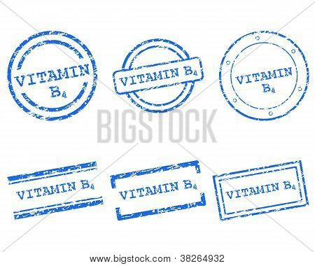 Detailed and accurate illustration of vitamin B4 stamps poster