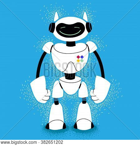 Cute Friendly Robot. Electronic Bot Friend On Blue Background. Cartoon Tech Assistant Android. White