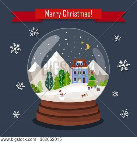Christmas Greeting Card. Christmas Snow Globe With Night Landscape. Christmas Glass Ball With Christ