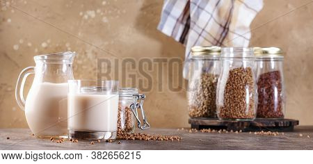 Vegan Buckwheat Milk, Closeup. Non Dairy Alternative Milk. Healthy Vegetarian Food And Drink Concept