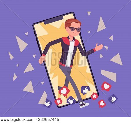 Digital Detox, Young Man Breaking Through Phone Screen. Guy Happy Refrains From Using Devices, Smart