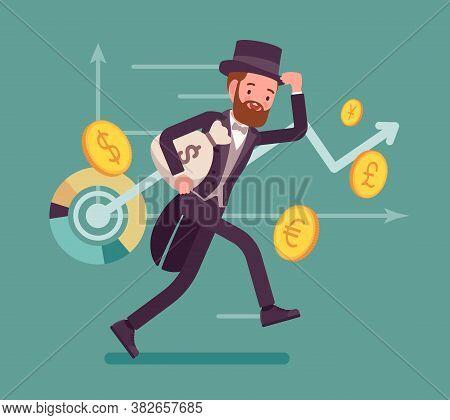 Richman, Wealthy Person With Great Financial Fortune. Elegant Gentleman Banker In Tuxedo, Successful