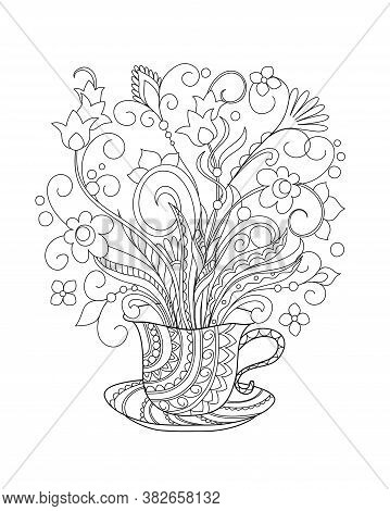 Ornamental Cup With Hand Drawn Doodle Flowers. Monochrome Contour Illustration For Greeting, Invitat