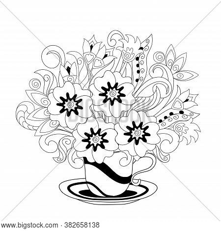 White Cup With Black Lines And Hand Drawn Doodle Floral Bouquet. Monochrome Contour Illustration For