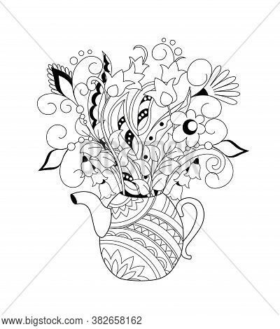 Ornamental Teapot With Hand Drawn Doodle Flowers. Monochrome Contour Illustration For Greeting, Invi