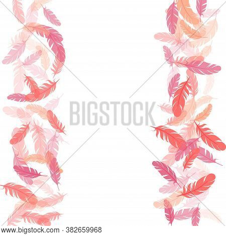 Decorative Pink Flamingo Feathers Vector Background. Decoration Confetti Of Carnival Plumelet. Pluma