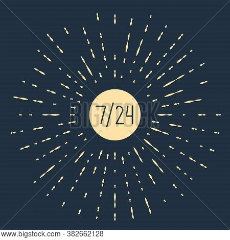 Beige Clock 24 Hours Icon Isolated On Blue Background. All Day Cyclic Icon. 24 Hours Service Symbol.