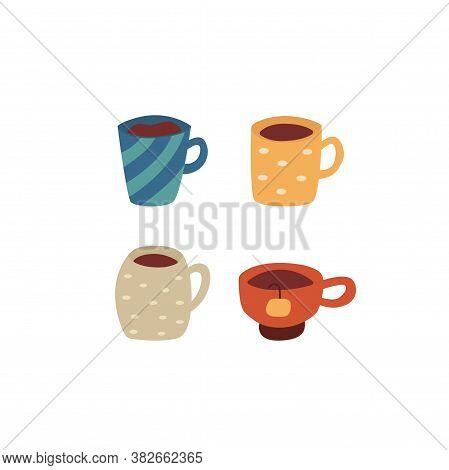 Set Of Mugs With Coffee And Tea. Tea Bag. Cozy Mood. Colorful Cartoon Vector Isolated Illustration O