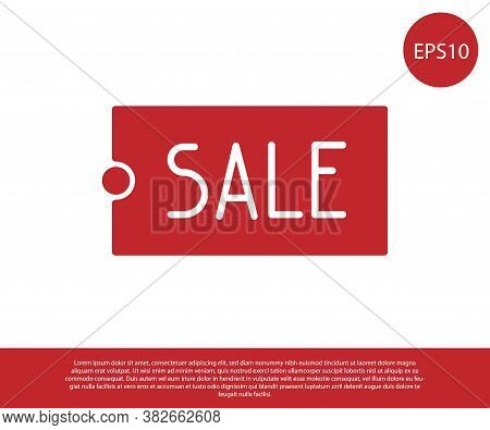 Red Price Tag With An Inscription Sale Icon Isolated On White Background. Badge For Price. Promo Tag
