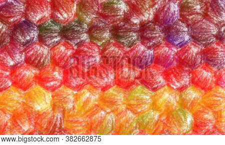 Red And Orange Wax Crayon With Low Coverage Background, Digitally Created.