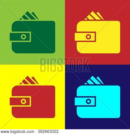 Pop Art Wallet With Stacks Paper Money Cash Icon Isolated On Color Background. Purse Icon. Cash Savi
