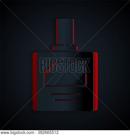 Paper Cut Aftershave Icon Isolated On Black Background. Cologne Spray Icon. Male Perfume Bottle. Pap