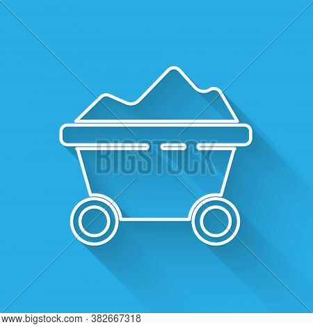 White Line Coal Mine Trolley Icon Isolated With Long Shadow. Factory Coal Mine Trolley. Vector Illus