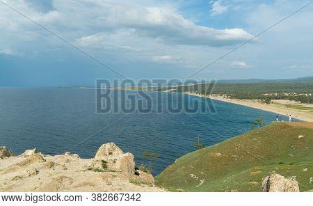 Beautiful Landscape Of Siberian Lake. Panoramic View Of Cape Burhan, Sarai Bay. Olkhon Island-heart