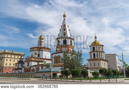 Russia, Irkutsk, August 2020: Cathedral Of The Epiphany Is An Orthodox Church Located In The Histori