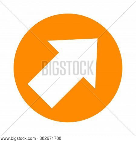 Arrow Pointing Right Up In Circle Orange For Icon Flat Isolated On White