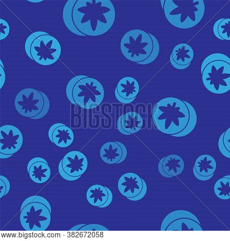 Blue Herbal Ecstasy Tablets Icon Isolated Seamless Pattern On Blue Background. Vector Illustration