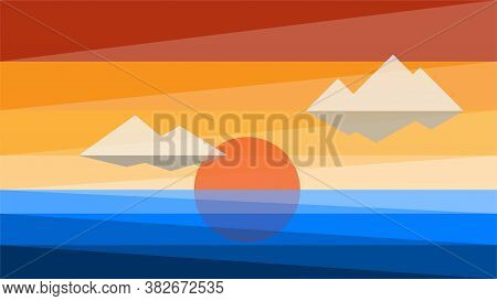Simplicity Sunset At The Sea Modern Style Wallpaper Background. Vector Illustration.