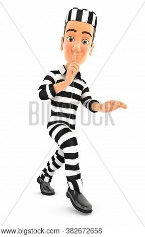 3d Convict Walking On Tiptoe, Illustration With Isolated White Background