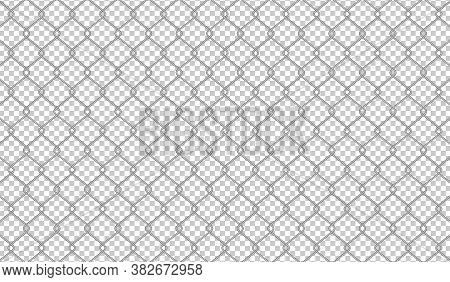 Wire Mesh Isolated And Transparent For Background, Barrier Net, Wire Net Metal Wall, Barbed Wire Fen