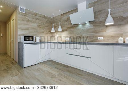 Minsk, Belarus - August, 2020: Interior Of The Modern Luxure Kitchen  In Studio Apartments In Minima