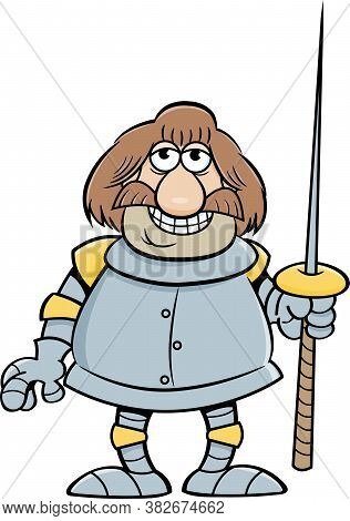 Cartoon Illustration Of A Smiling Knight Holding A Lance.