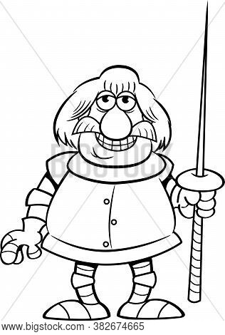 Black And White Illustration Of A Smiling Knight Holding A Lance.