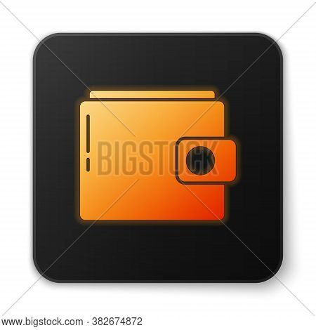 Orange Glowing Neon Wallet Icon Isolated On White Background. Purse Icon. Cash Savings Symbol. Black
