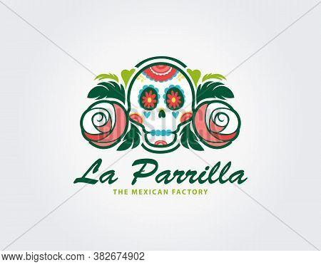 Mexican Skull Logo Template. Vector Illustration Of Day Of The Dead Or Sugar Skulls, Mexican Skulls