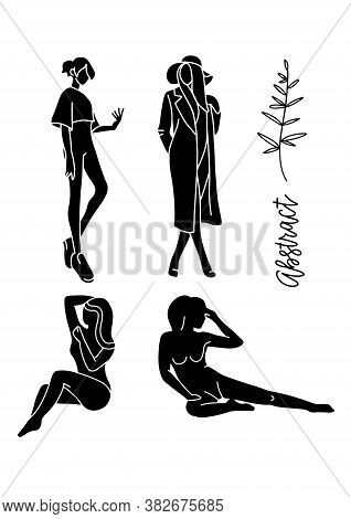 Fashion Models Sketch Hand Drawn Stylized Silhouettes Isolated On White. Vector Fashion Illustration